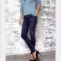Cabi Skinny Jeans #3193 Distressed Destructed Dusk Dark Wash Stretch Size 2 EUC!