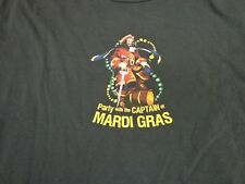 Captain Morgan Rum T Shirt Mardi Gras  Black Party With The Captain   Large  G6