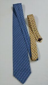 """TOMMY HILFIGER Classic 58"""" Neck Tie Blue and Gold Striped Checks 100% Silk NEW"""