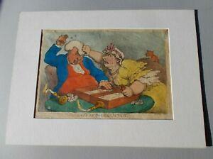 Thomas Rowlandson Original 1810 Hand-colored Backgammon etching NO REPRO