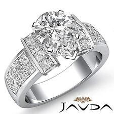 Pera Diamante Invisible Set Anillo de Compromiso GIA G Color VS2 14k Oro Blanco