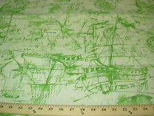 ~7 Yds~Nautical Boats Sketches Writing~Outdoor Upholstery Fabric For Less~