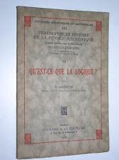 F. GONSETH - QU'EST-CE QUE LA LOGIQUE ? - 1937