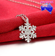 Classic Wholesale 18K White Gold Filled Clear Crystal Snowflake Necklace Pendant