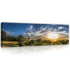 Leinwandbild Bilder Wandbilder Natur Landschaft Feld Sonnenuntergang Wohnzimmer