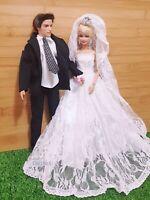 New Quality Set Barbie And Ken Dolls Wedding Dresses Veil Bridal outfit DW1901