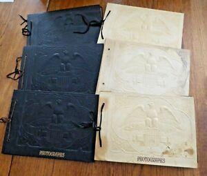 Lot of 6 Vintage EMBOSSED Photo PHOTOGRAPH ALBUM w EAGLE Black & White Scrapbook