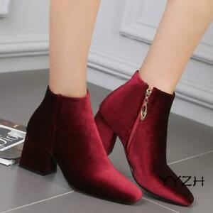 Women Elegant Ankle Boots Riding Shoes Block Heels Ladies Square Toe Booties New