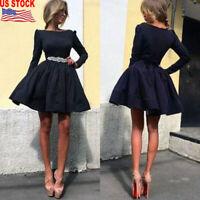 Fashion Women Formal Prom Party Clothes Long Sleeve Mini Short Slim Tutu Dress