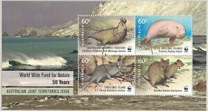 2011 AAT WWF 50th Anniversary, Territories Joint Issue Minisheet  SG MS213  Fu