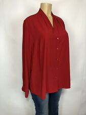 Maggie Barnes Red V Neck Shirt Women's Plus Size 20W Blouse Long Sleeve Top 5