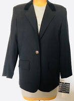 🎷Braefair Blazer Wool Blend 16🌹New with Tags🎈Velour Collar🎈Gold One Button