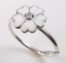 PRIMROSE Genuine PANDORA Silver/WHITE ENAMEL/Cz FLOWER Ring 7/54 190931EN12 NEW
