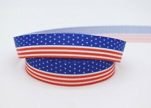 American Patriotic Star and Stripes 22mm Grosgrain Ribbon per metre