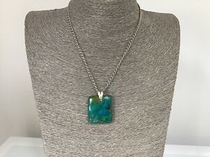 VINTAGE STERLING  SILVER CHAIN AND LARGE 925 SILVER TURQUOISE PENDANT