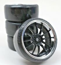 1/10 Scale On-Road 12 Spoke Black Rims Chrome Lip Hard Drift Tires RC Wheels