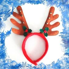 Handmade Reindeer Antlers With Golden Bells And Holly Christmas Headband XMAS