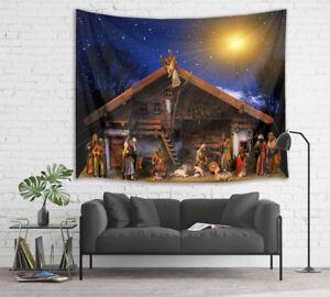 Starry Sky Manger Jesus Nativity Tapestry Wall Hanging Living Room Bedroom Dorm