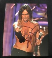 IGGY POP SIGNED 8X10 PHOTO STOOGES C W/COA+PROOF RARE WOW