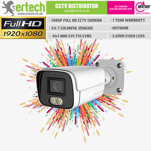 2MP 24/7 Full Color Night View CCTV Camera ColorVu White LED NightVision Outdoor