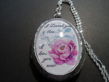 """GLASS CAMEO I LOVED YOU THEN I LOVE YOU NOW LOCKET 26"""" CHAIN"""