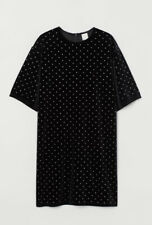 H&M T Shirt Dress Black Velour With Silver Studs Size M Brand New With Tags