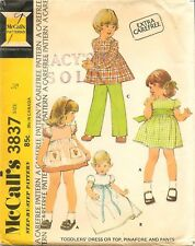 Vintage 1973 McCall's # 3837 Sewing Pattern Toddlers Dress Pinafore Pants Sz 1/2