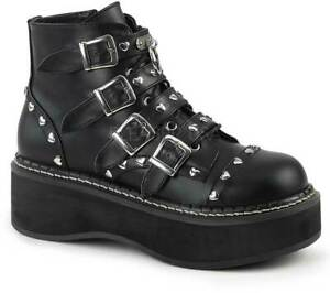 "Pleaser Demonia 2"" Platform Lace Up Front/ Buckle Strap Boots Blk Vegan Leather"