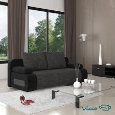 Vicco Schlafsofa Couch Sofa Ulm Federkern 200x91cm Mikrofaser Struktur  Schwarz