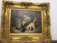 Oelgemälde Leinwand signiert E.Bohn? Katzen im Bollerwagen