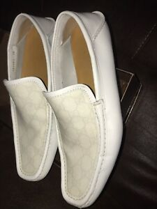 Gucci Guccissima Driving Shoe White Loafers 11 US