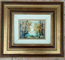 Paesaggio autunnale Dipinto olio su ceramica firmato F. Mauro