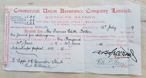 Large 1909 COMMERCIAL UNION General Insurance receipt. Nice item to frame.