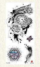 US SELLER, retro clock rose feather temporary tattoo female lower back tattoos