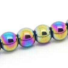 1 Strand 8mm Round Titanium Coated MARDI GRAS HEMATITE Gemstone Beads ghe0014
