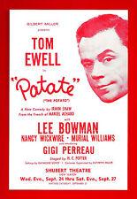 "Tom Ewell ""PATATE"" Lee Bowman / Gigi Perreau / Irwin Shaw 1958 FLOP Tryout Flyer"
