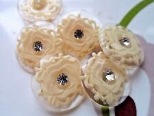 24pcs Button Rhinestone Clear & Cream Sewing Lady Dress Coat Shirt 21mm