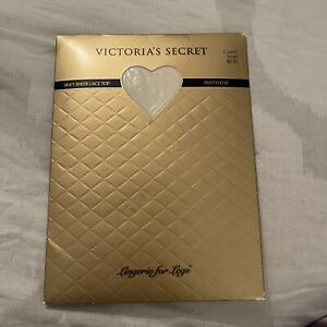 Vtg VICTORIAS SECRET Silky Sheer Lace Top  Stockings ~SMALL~Cream