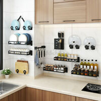 Kitchen Storage Dish Spice Rack Shelf Utensils Holder Wall Mount Hanging Stand