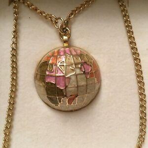 BESPOKE TIME Enamel Globe Sphere Travel Necklace Pendant Fob Watch Chain