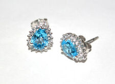 925 Sterling Silver Natural Earring Blue Topaz & Zircon gemstone Free Shipping