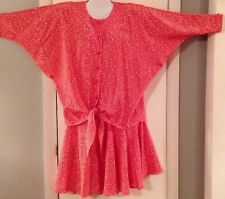 Vtg 1980s Outfit Womens Size 8 Blouse Skirt Red Shoulder Pads Lady Carol Petite