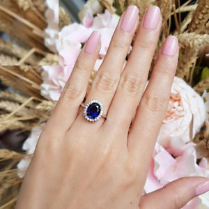 3ct Oval Cut Blue Sapphire Engagement Ring 14k White Gold Over Princess Diana