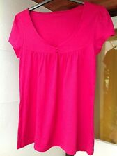 """Lovely pink cotton short-sleeve tunic top, 10-12, 34"""" bust"""