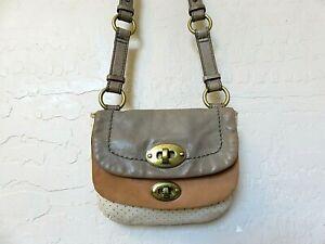 Fossil Crossbody Handbag Small Saddle Bag Brown Beige Leather