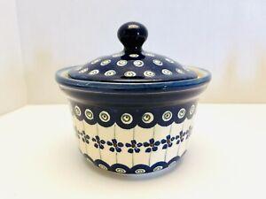 Vintage Boleslawiec Blue White Green Floral Lidded Ceramic  Sugar Bowl Poland