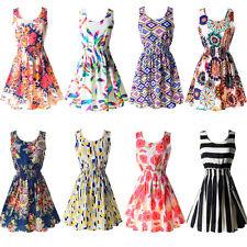 Women's Sleeveless Sundress Summer Chiffon Beach Floral Tank Mini Dress M-XXL