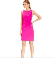 Ivanka Trump Women's Size 14 Sunburst Pleat Sleeveless Sheath Dress Pink