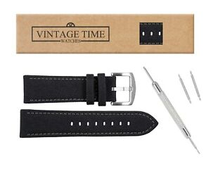 VintageTime Watch Straps - Canvas Sports Leather Lined Replacement Bands