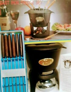 Norpro 10 Piece Black Cast Iron Fondue Set W Burner, 6 Forks Recipes